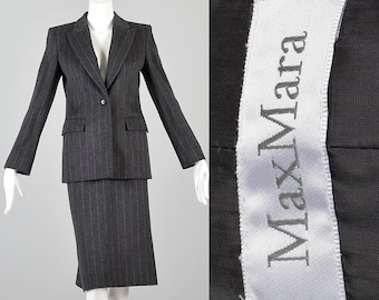 0c7f54661f3da Small Max Mara Skirt Suit Angora Wool Gray Skirt Suit Jacket Chalk Stripe  Designer Size 6 Business Suit Pinstripe Winter Suit