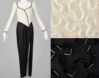 2d234357ae2 XS Lillie Rubin 1970s Black and White Beaded Gown Wiggle Dress Scoop Neck  Cocktail Dress Vintage Party Dress