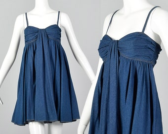 8c917911cda0d XS DKNY Denim Babydoll Mini Dress Casual Summer Dress Spaghetti Straps  Lightweight Spring Summer 1990s 90s Vintage