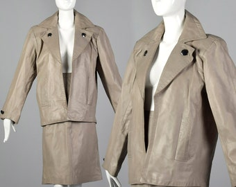 4f995b556f6 Small 1980s Yves Saint Laurent Rive Gauche Gray Leather Skirt Suit  Oversized Jacket Pencil Skirt Classic 80s Vintage