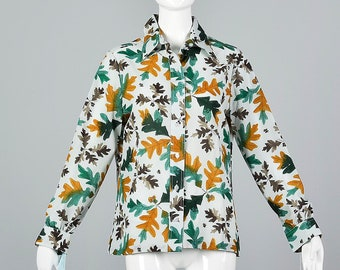 aeb489371b665 Large Vera Separates Signature Print Blouse Deadstock Vintage 1970s 70s Oak  Leaf Print Shirt Vera Neumann Long Sleeve Top