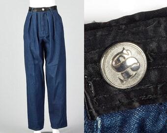 eea435eb9531c Medium 1990s Sonia Rykiel Pleated Jeans Black Satin Waistband High Waisted  Mom Jeans Casual Separates 90s Vintage