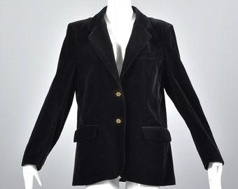 0c7304dbf7345 Pierre Balmain Black Velvet Blazer Jacket Logo Buttons Designer Blazer  Conservative Wide Lapel Balmain Paris Vintage Boyfriend Blazer
