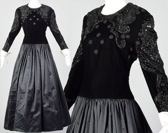 b199cdfdcc49 Large Escada Couture 1980s Velvet and Silk Gown Vintage Black Beaded Drop  Waist Dress Vtg 80s Designer Gown