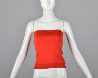 6fc379849b6 XS 1970s Bill Haire Shiny Red Tube Top Casual Strapless Top Cropped Knit  Spring Summer Lightweight 70s Vintage