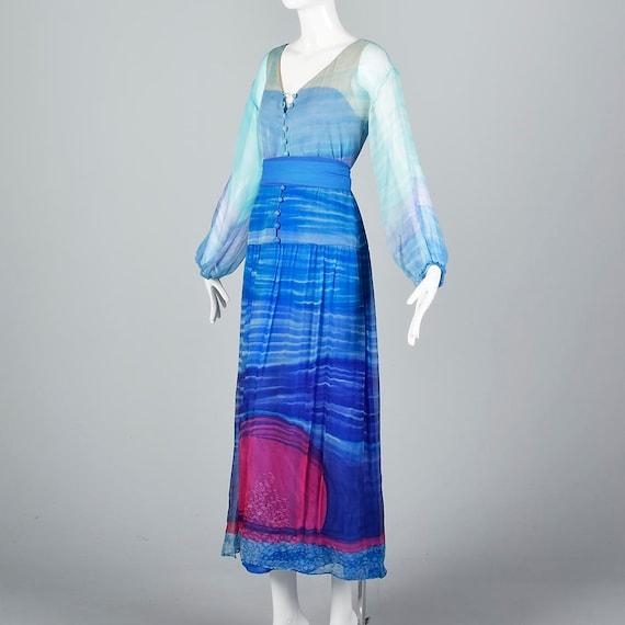 Small Travilla Flowy Silk Dress Long Sleeve Royal… - image 2