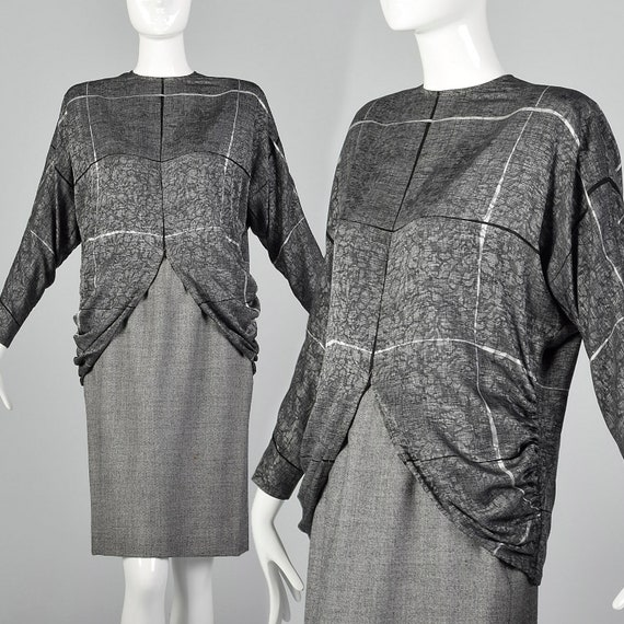XS Galanos 1980s Skirt and Blouse Set Silk Blouse