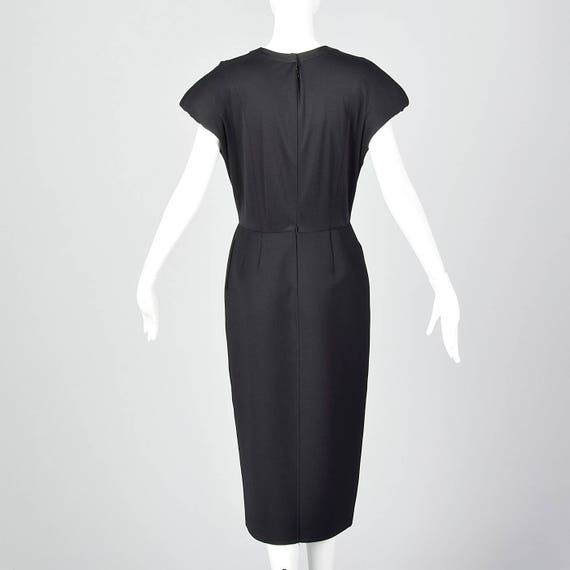 Small Geoffrey Beene Black Pencil Dress Simple Vintage Dress Shaped Shoulders Pencil Skirt Pockets Short Sleeves 1980s 80s Vintage
