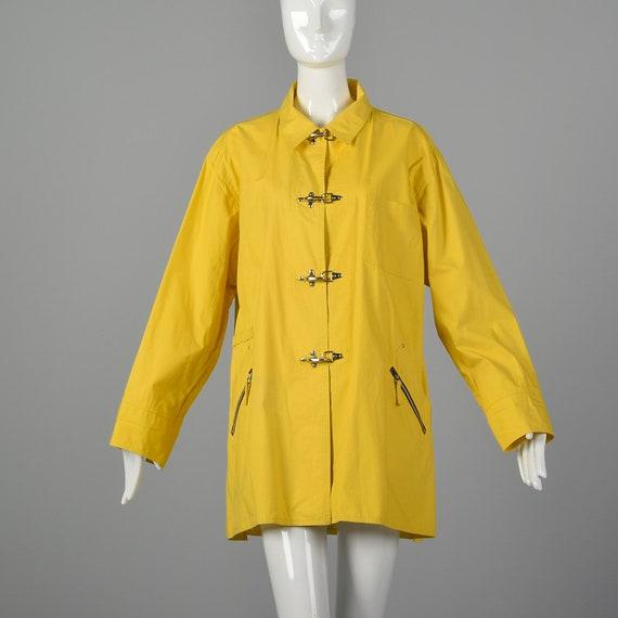 XL Emanuel Ungaro 1990s Rain Coat Vintage Yellow R