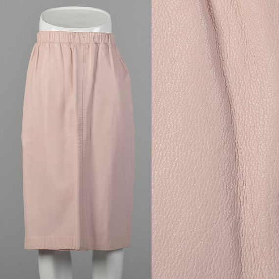 XS Pastel Pink Buttery Leather A-Line Skirt