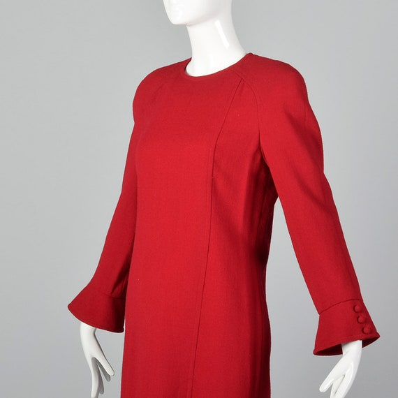 Small Travilla Red Wool Dress Long Sleeve Flared … - image 5