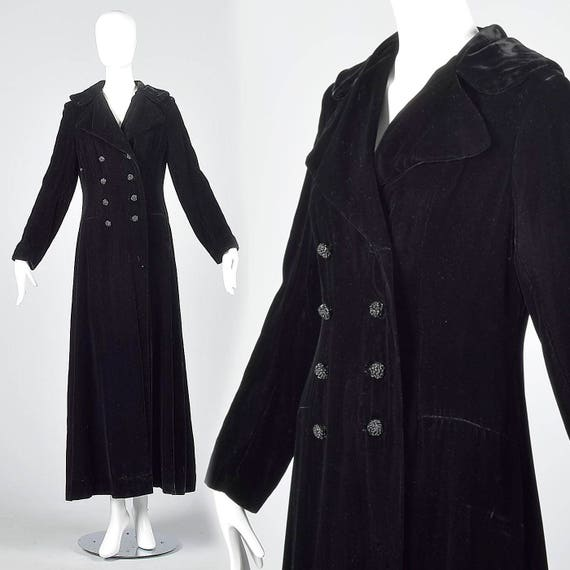 Maxi XS Coat Coat Floor 70s Vintage Formal Evening Opera Length Velvet Long Black n8nF0