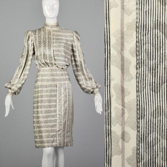 Small Galanos 1970s Striped Silk Dress Vintage Geo