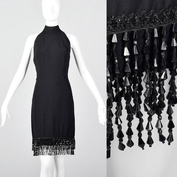 Medium Victor Costa Black Halter Dress Open Back B