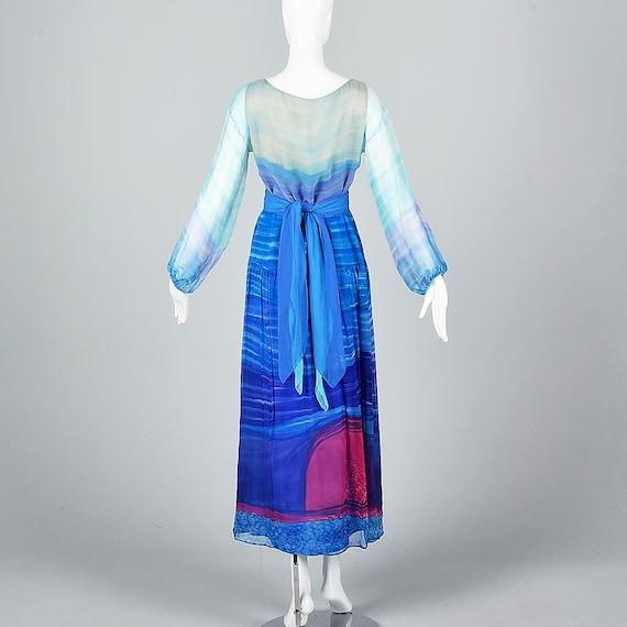 Small Travilla Flowy Silk Dress Long Sleeve Royal… - image 3