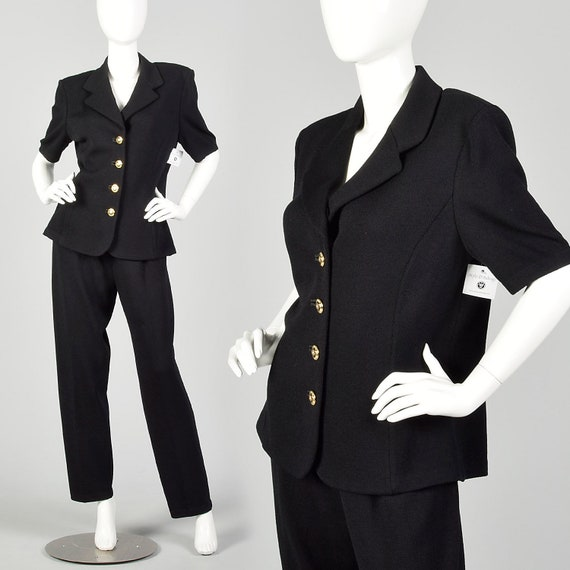 Large 1990s St. John Pant Suit Short Sleeve Jacket