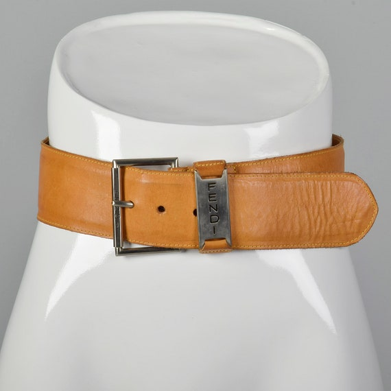 Small Fendi Wide Leather Belt Silver Buckle Brown… - image 1