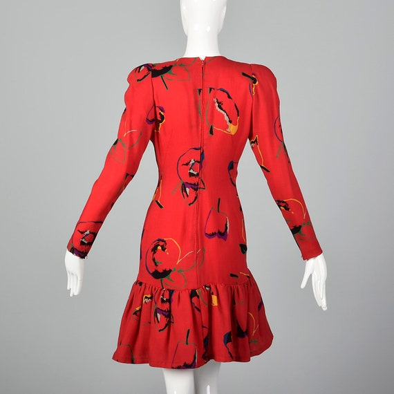 Small 1980s Pauline Trigere Dress Long Sleeve Red… - image 2