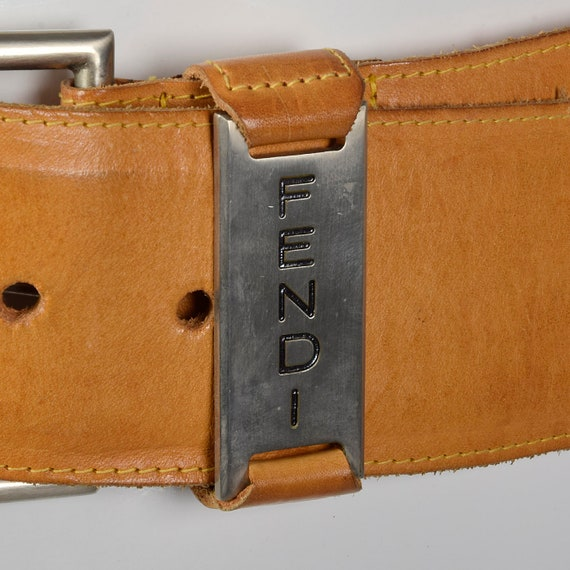 Small Fendi Wide Leather Belt Silver Buckle Brown… - image 5