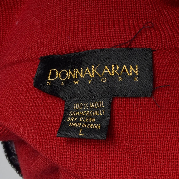 Oversized Separates Karan Donna Wool Vintage Red Cardigan Sleeve Wool Cardigan Knit Large 80s Long 1980s Separates OqP5wxR