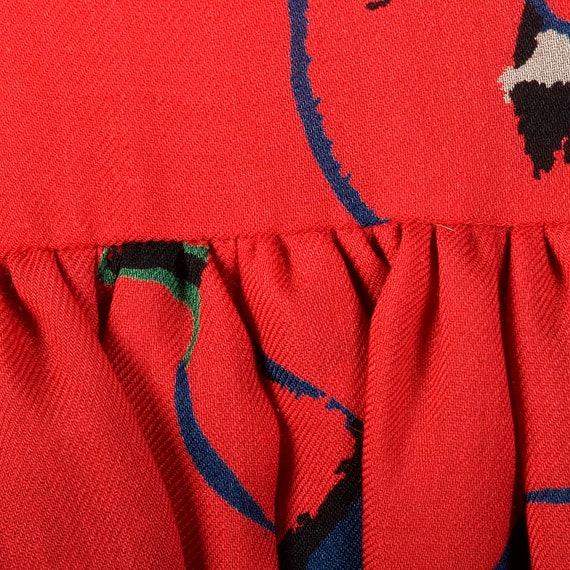 Small 1980s Pauline Trigere Dress Long Sleeve Red… - image 7