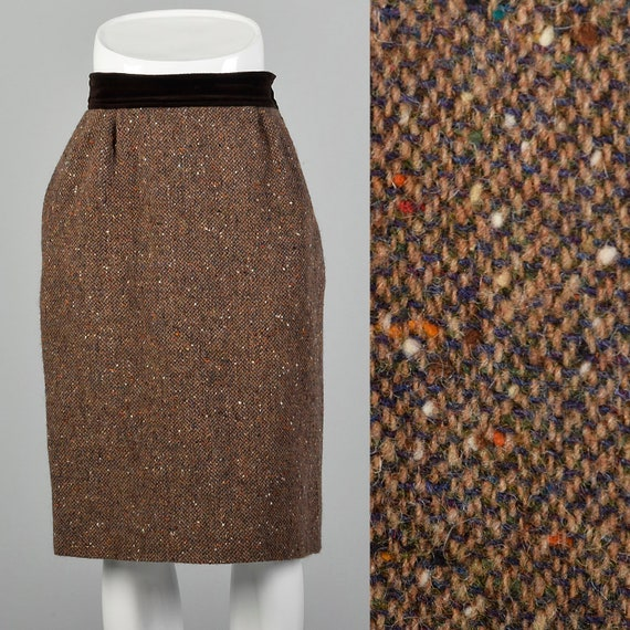Medium Valentino Boutique Skirt 1980s Brown Wool F