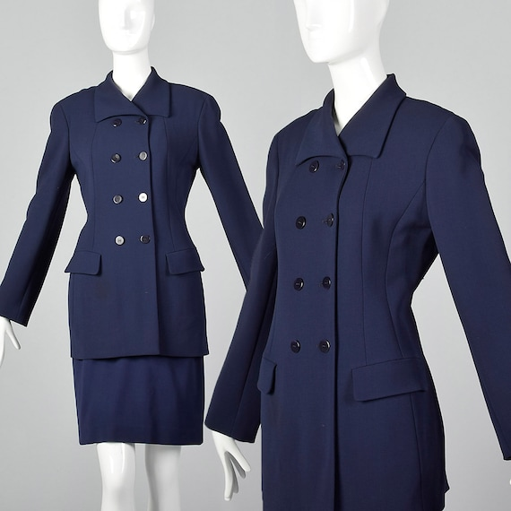 Small Donna Karan Navy Blue Skirt Suit Fitted Jack
