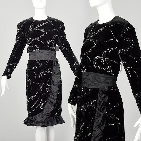 Large 1980s Escada Dress Black Velvet Glitter Ruf… - image 1