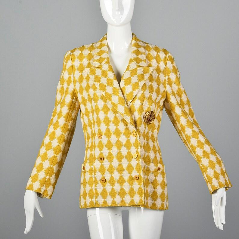 ff206cc875 Medium Sonia Rykiel Blazer Yellow White Houndstooth Tweed | Etsy