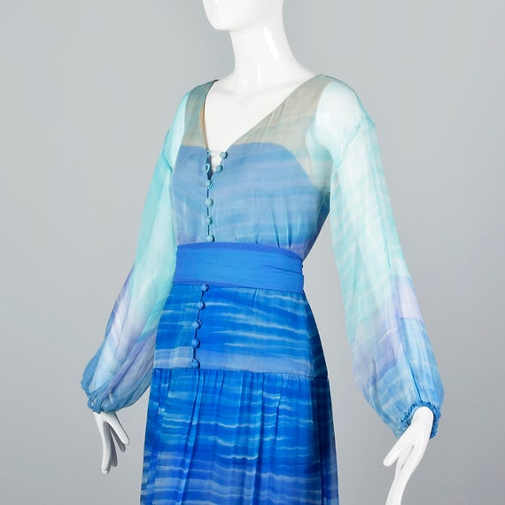 Small Travilla Flowy Silk Dress Long Sleeve Royal… - image 7