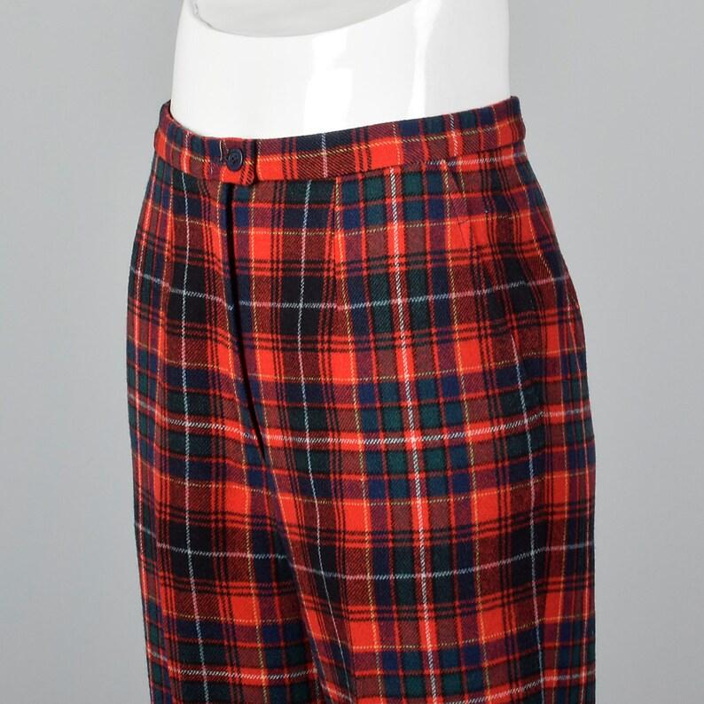 XS Pendleton Plaid broek rood wollen Vintage 70s blauw groene geweven  vlakke voorzijde bekleed tapse poot