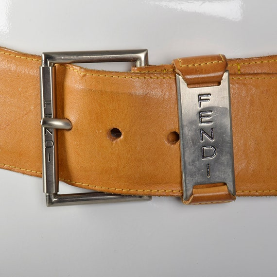 Small Fendi Wide Leather Belt Silver Buckle Brown… - image 4