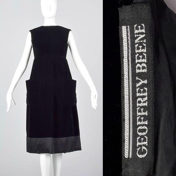 Black Dress 1960s Dress Velvet Wrap Cocktail Waist Minimalist Little Dress Geoffrey Dress Beene Sleeveless Medium Empire wIdq0I