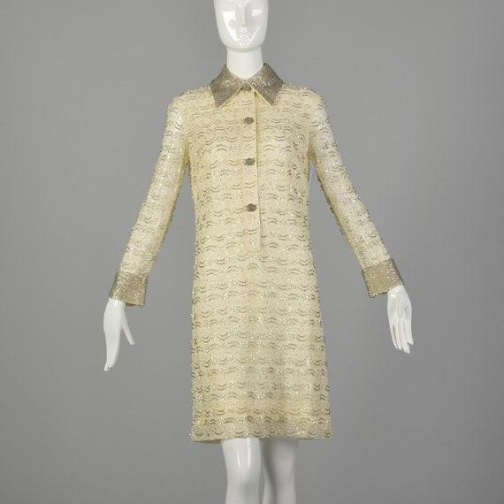 Medium 1960s Mod Dress White Beaded Long Sleeve Se