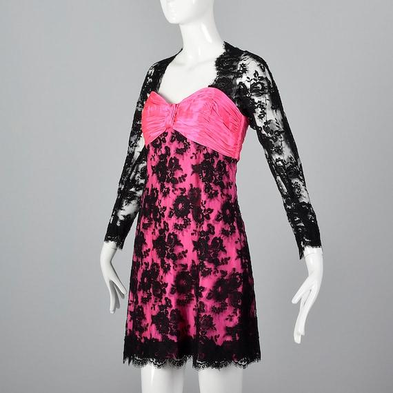 XS Travilla YT Hot Pink Dress Sheer Black Lace Ov… - image 3