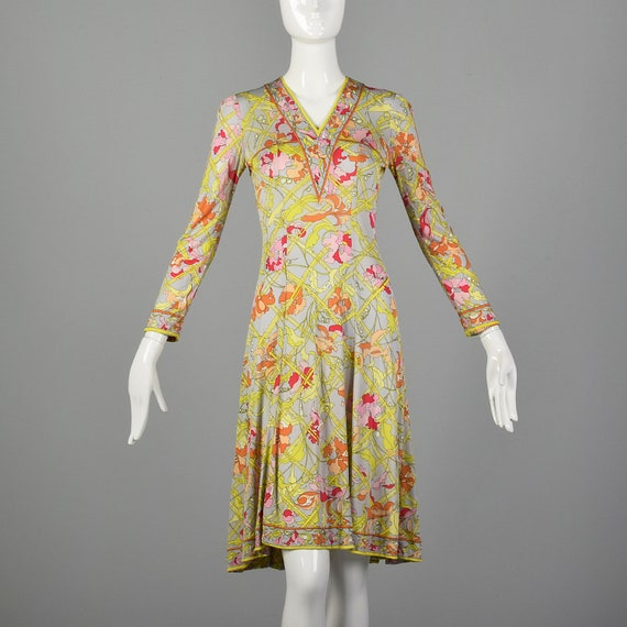 XXS 1960s Emilio Pucci Dress Signature Print Long