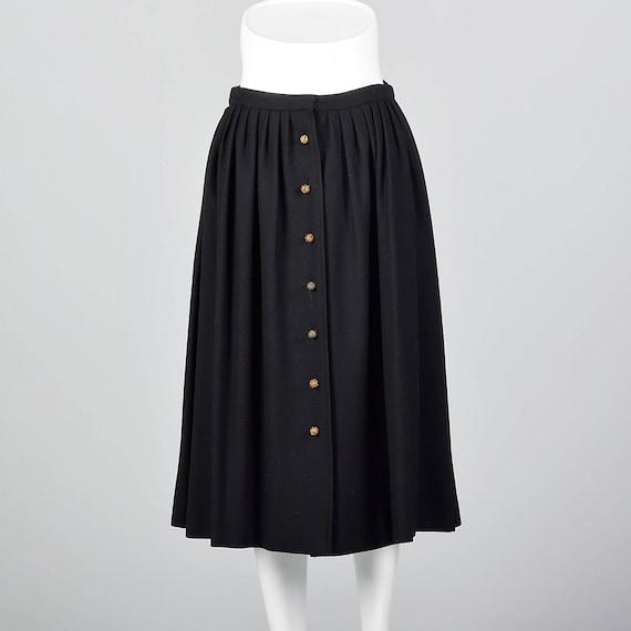 Medium Skirt Karl Autumn Pleated Modest Chloe Separates Lagerfeld Designer Black Wool Skirt Classic Separates rvrFwg