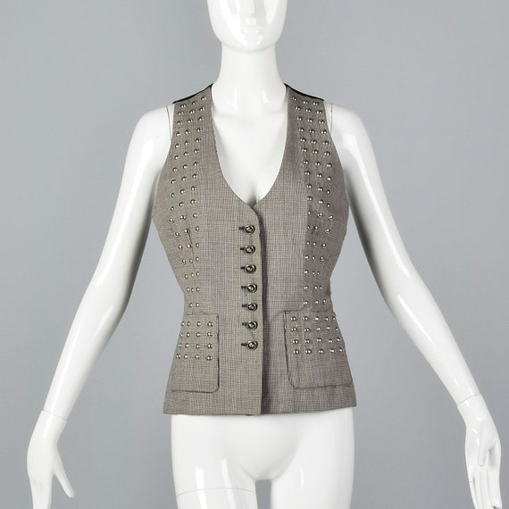 Small 1990s Todd Oldham Seven 7 Studded Vest Wool