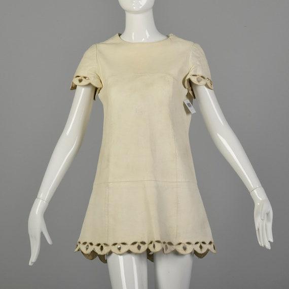 Medium 1960's Mod Leather Dress Micro Mini White D