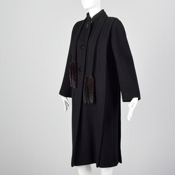 Small 1980s Pauline Trigere Coat Black Wool Winte… - image 3