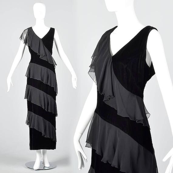 XL 1980s Black Velvet Maxi Dress Little Black Dres