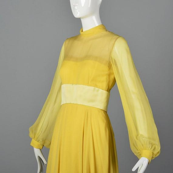 XS Travilla Yellow Chiffon Dress Romantic Formal … - image 7