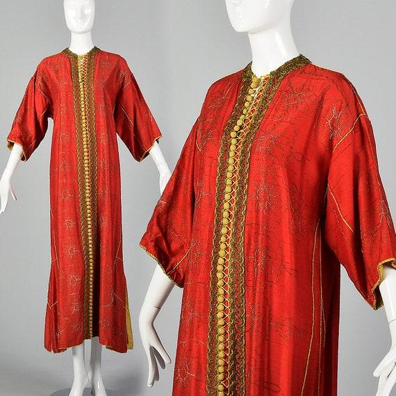 1970s Red Silk Kaftan Vintage Silk Dupioni Dress 7