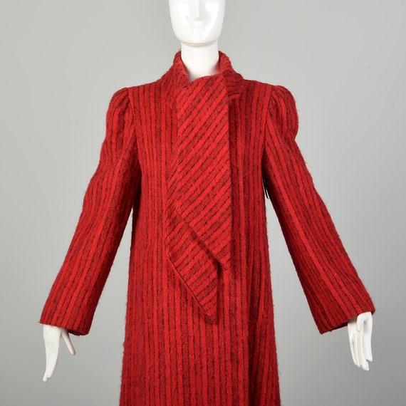 Medium 1980s Pauline Trigere Coat Red Mohair Blac… - image 7