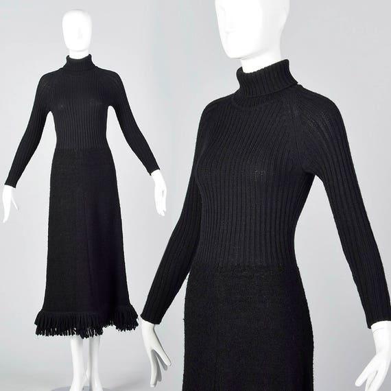 1970s Marni Knits Tight Black Dress Turtleneck Dre