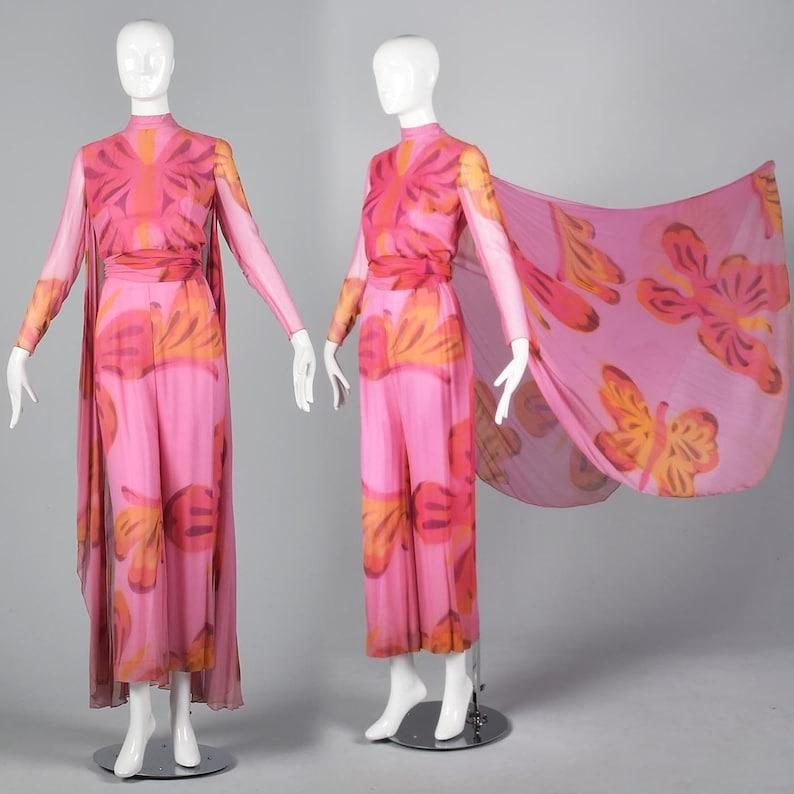 95a843ef20d7a XXS Long Sleeve Jumpsuit Cape Unique Jumpsuit Pink Silk