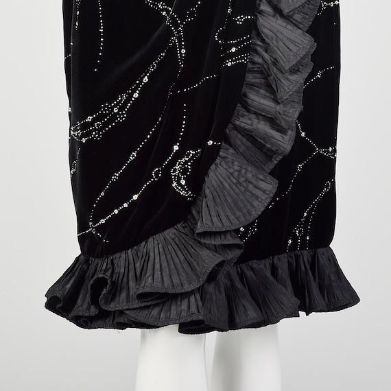 Large 1980s Escada Dress Black Velvet Glitter Ruf… - image 7