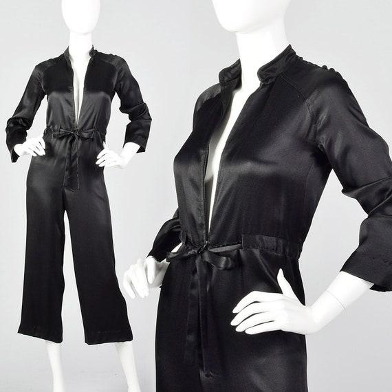 XXS Satin Jumpsuit Long Sleeve Zip Front Drawstrin