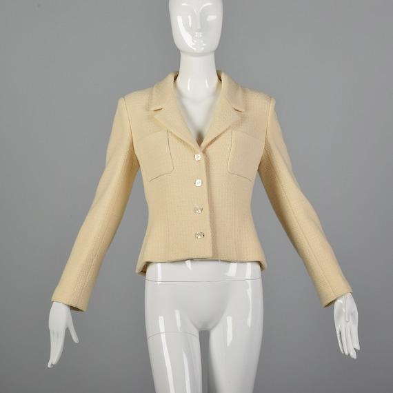 Medium Chanel 1990s Cream Wool Jacket Vintage Cha… - image 1