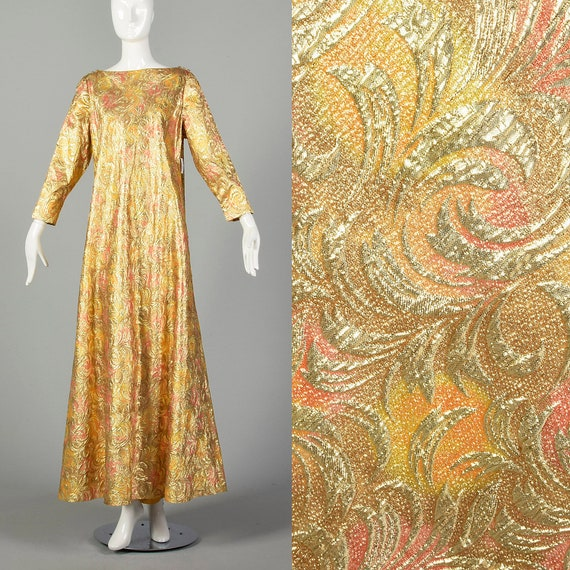 1960s Lucie Ann Kaftan Metallic Gold Tent Dress L… - image 1